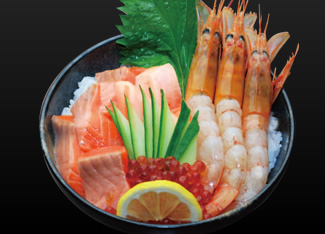 Salmon and Red Prawn Donburi